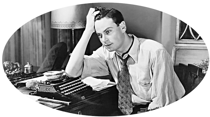 ovally-cropped image of a writer (in black and white) with a hand in his head and a typewriter — time seems to be around the 30s or 40s — the man looks very pensive or maybe even suffering writer's block